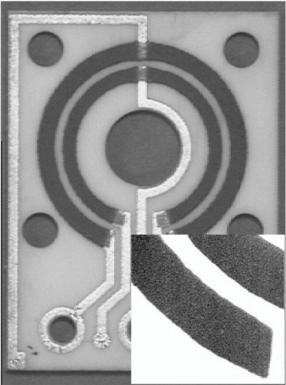 Contact-less magnetoresistive field sensor made of thick LSMO film by using the screen-printing technique. Inset: Detail of the LSMO thick film.