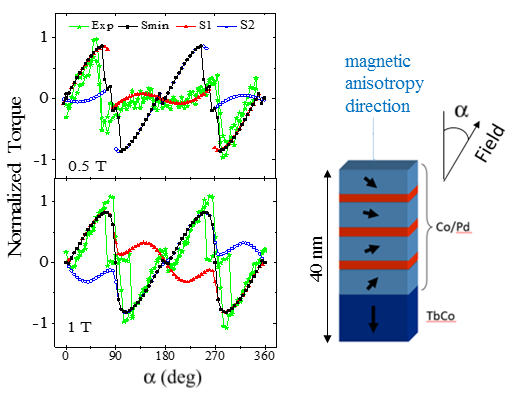Comparison between experimental data (green) and 1D simulation data in the case of hard(TbFeCo)/soft ([Co/Pd]) bilayer with perpendicular anisotropy Ref. : P. Vallobra, JAP 120, 013903 (2016)